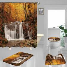 Autumn Forest Waterfall Shower Curtain Bath Mat Toilet Cover Rug Bathroom Decor
