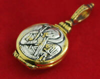 Greek Orthodox 925 Silver Relic Holder Cross Guardian Angel 24K Gold Plated i-3