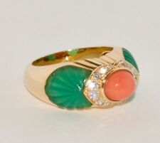 VINTAGE CARTIER CORAL CHALCEDONY AND DIAMOND 18K YELLOW GOLD COCKTAIL RING