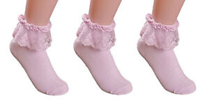 AM Landen Super Cute 3 pairs Pink Princess Lace Ruffle Frilly Ankle Socks