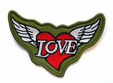 Love Heart Wings Sew On Patch- Peace Badge Hippy Gift Embroidered Applique