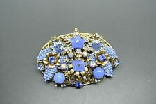 Vintage Miriam Haskell blue art glass flower beaded filigree brooch