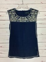 THML Stitch Fix Women's Petite Extra Small XSP Navy Embroidered Top Blouse Tank