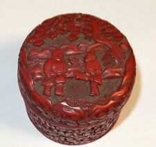 OLD CHINESE PEOPLE SCENE CARVED CINNABAR LACQUER ENAMEL HUMIDOR CANISTER JAR BOX