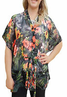 CLEARANCE! UK Size 6-24 Ladies Black Floral Tunic Beach Cover Up Beachwear Top