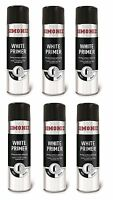 6x 500ml Simoniz White Primer Acrylic Spray Paint Can Aerosol Car Van Auto Holts