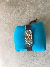 Dark Leather Bracelet With Skull Design