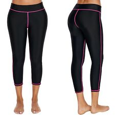 Swim LEGGINGS Rashie CAPRI Pants SWIMWEAR Separates LONG Black BOTTOMS Pink TRIM
