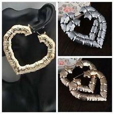 Hoop Cowboy Silver-plated Large Bamboo Earrings Jewellery Earrings Heart