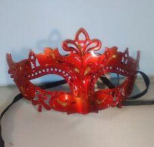 Rojo veneciano Máscara Mascarada Baile Fancy Dress intrincado Brillo Metálico Máscara