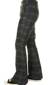 Run & Fly  70s vintage retro style bellbottom flared green/black tartan trousers