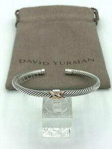 David Yurman 4mm X Bracelet with 18k Rose Gold