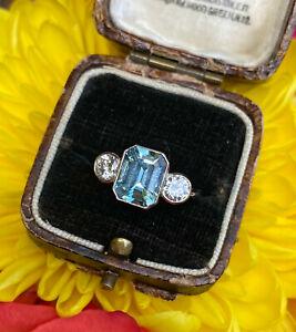 Aquamarine and Diamond Platinum Three Stone Ring 0.60ct + 2.05ct