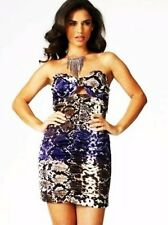 Superbe Robe Lipsy bustier 40 Uk 12 fermeture dos découpe python noeud Neuf