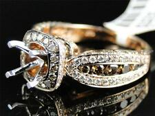 14k Rose Pink Gold Cognac Brown Diamond Channel Set Semi Mount Engagement Ring