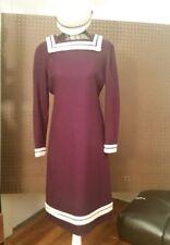 Vintage 60's Secretary Dress Plum peter pan collar sz10-12 Long sleeve