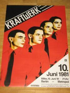 """KRAFTWERK KONZERT POSTER 1981 BERLIN METROPOL """"MENSCH MASCHINE"""" ORIGINAL PLAKAT"""