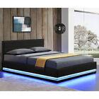 Polsterbett LED Doppelbett Bett Bettgestell Lattenrost Kunstlederbett Juskys® günstig