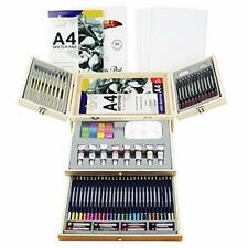 Deluxe Art Supplies 88 Pieces Art Set in Portable Wooden Case with 2 Drawing ...