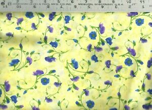Timeless Treasures ~ Pansy Paradise Floral Yellow ~ 100% Cotton Quilt Fabric BTY