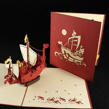 POP UP 3D card - norse boat ship, galleon (birthday, blank, Father's Day