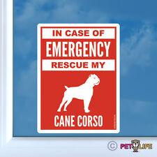 In Case of Emergency Rescue My Cane Corso Sticker Die Cut Vinyl - #2 dog safety