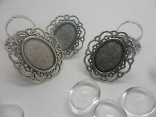 5 NEW Vintage Adjustable ring kit & 18x13mm Cabochons,Antique Silver~Ring Making