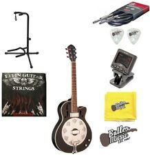 Oscar Schmidt OR6CEB Satin Black A/E Biscuit Resonator Guitar w/Picks + More!!