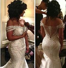 2017 Stunning Africa Luxury Bead Mermaid Wedding Dress Bridal Gown Custom Size