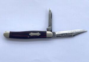Vintage Camillus Sword Brand 4 Line Wood Serpentine Jack Folding Pocket Knife