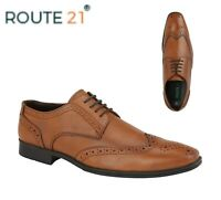 MENS SMART Wedding Brogue Gibson Leather Shoes Tan Size 6 7 8 9 10 11 12