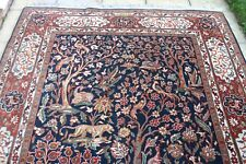£3500 HAND KNOTTED Persian Qom wool hunting animals birds rug 310 x 200 cm