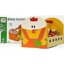 Childrens Wooden Rooster Tool Box Toy Nuts Bolts Hammer Screwdriver