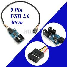 9 Pin USB Header Male 1 to 2 Female Extender Cable 9P USB2.0 Port HUB 30cm/1 ft