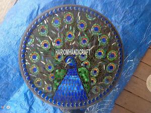 "18"" Black Marble Lapis Handmade Inlay Plate Table Hallway Arts Decorative H4050C"