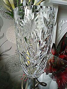 Large Vintage Crystal Cut Vase Sunflower Design Quite Heavy 26cm Tall