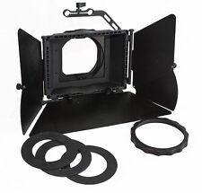 Matte Box semi-profesional, con 2 porta filtros y banderas metálicas.