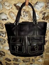 Tommy Hilfiger black leather handbag white stitch detail