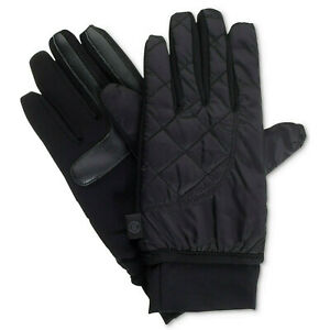 ISOTONER Black Quilted SleekHeat smartDRI smarTouch Packable Ski Gloves L XL