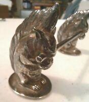 Vintage Antique Silver Plate Figural 3D Squirrels With Nut ~ Knife Rest