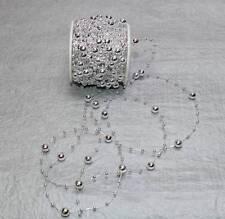 15m Perlengirlande (0,98 €/m) Schleifenband Perlen silber silberne Hochzeit