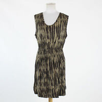 Brown print rayon BANANA REPUBLIC cap sleeve scoop neck stretch dress M