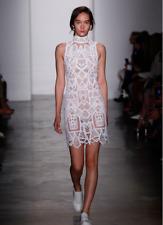 £1042 Jonathan Simkhai Tower Lace sheered embroidered white mini dress US 4/ UK8