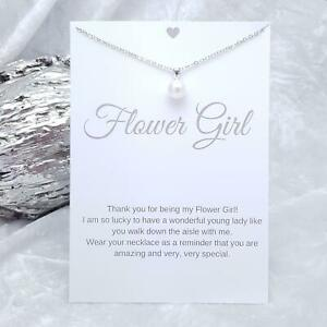 Flower Girl Wedding Gift Faux Pearl Necklace & Keepsake Card Bride NEW Style