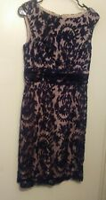 Adrianna Pappel Dress Size 6 Navy Beige Lace Cocktail Casual