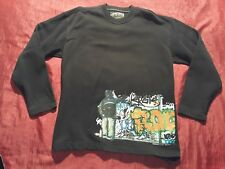 VINTAGE 98 ENERGIE LTD. MURALES GRAFFITI  BLACK TRACKTOP FELPA HIP HOP MEDIUM