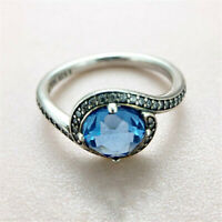 New 925 Sterling silver Radiant Embellishment Blue Crystal Ring Size 6 7 7.5 8.5