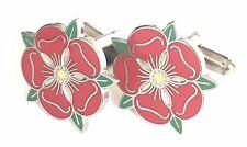 Pequeño Lancashire Rojo Rosado Esmalte Escudos Gemelos (N27) Regalo En Caja