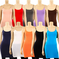 Extra Long Stretch Camisole Tank Top Spaghetti Strap Dress Slip Tunic Fits S M L