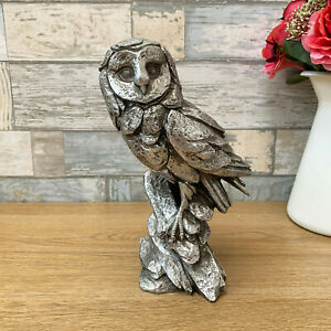Carved Silver Natural World Standing Resin Owl Statue Sculpture Ornament Gift